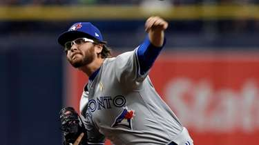 Toronto Blue Jays' Anthony Kay pitches to the