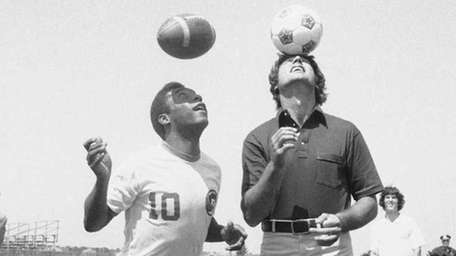 New York Cosmos soccer star Pele, left, and