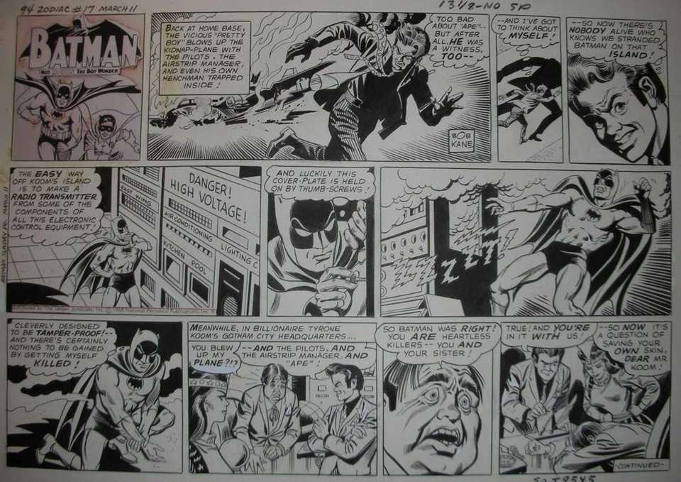 A Sunday cartoon strip starring Batman by Long