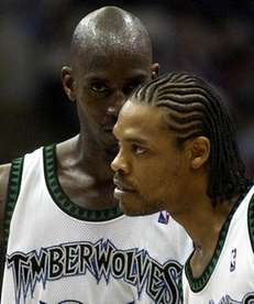 Minnesota Timberwolves forwards Latrell Sprewell, right, and Kevin