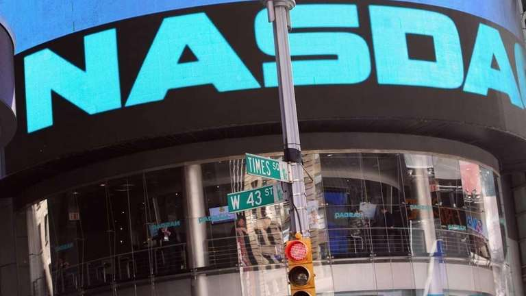 The Nasdaq stock market is seen at Times