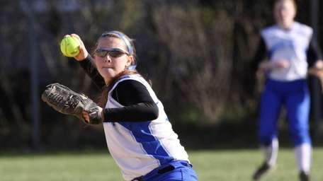 Long Beach's Kelsey Larson throws to first for
