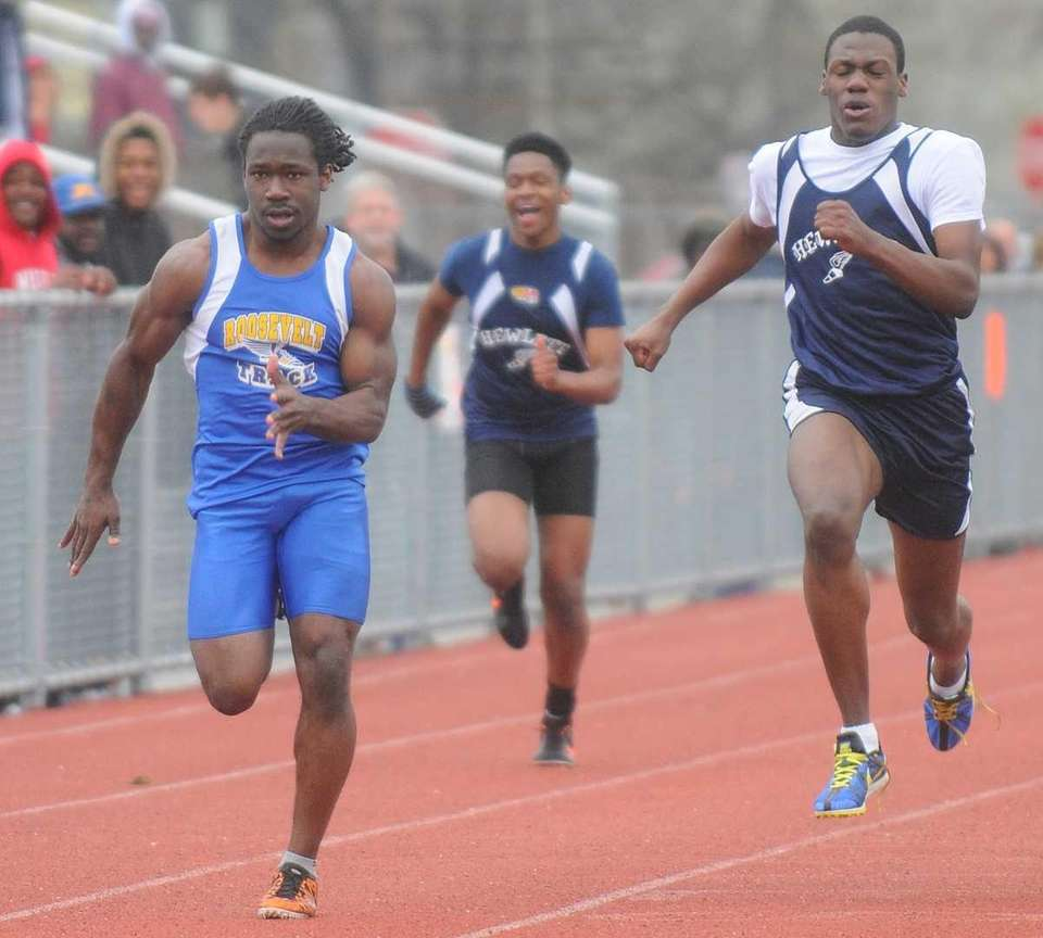 Roosevelt High School senior Erin Parker, left, sprints