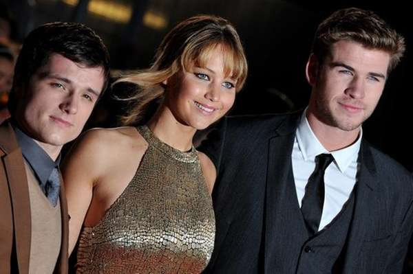From left: Josh Hutcherson, Jennifer Lawrence and Liam
