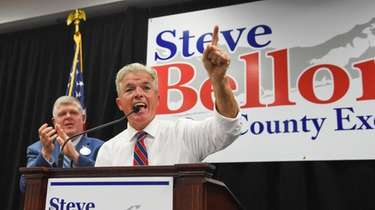 Suffolk County Executive Steve Bellone speaks Sunday at