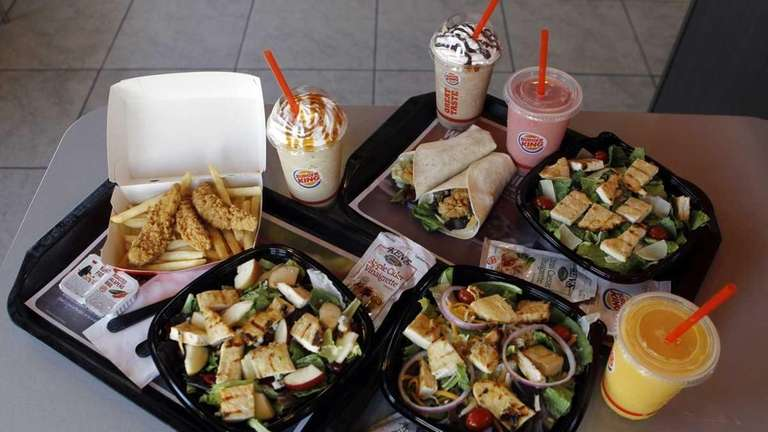 New food items sit on display at a