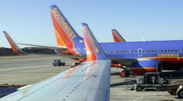 Southwest airplanes on the tarmac in Baltimore. (Feb.