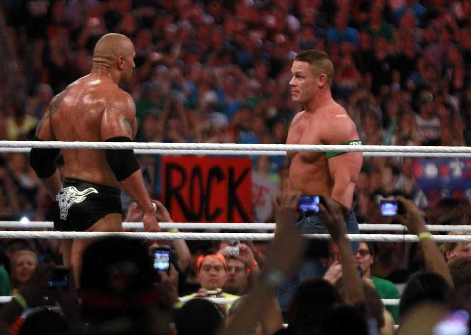 Dwyane 'The Rock' Johnson, left, and John Cena