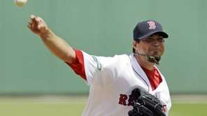 Boston Red Sox starter Josh Beckett delivers a