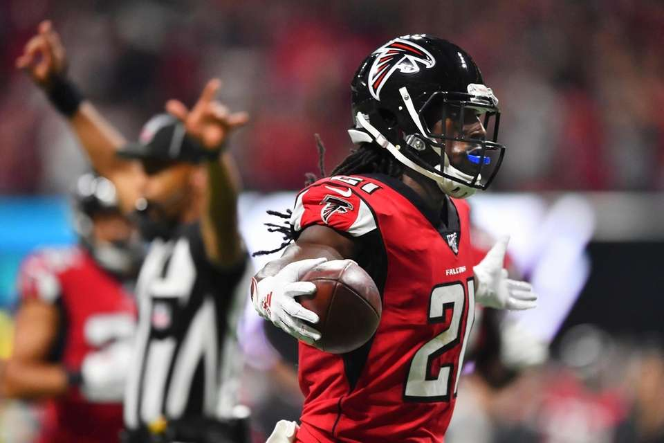 Atlanta Falcons cornerback Desmond Trufant celebrates an interception