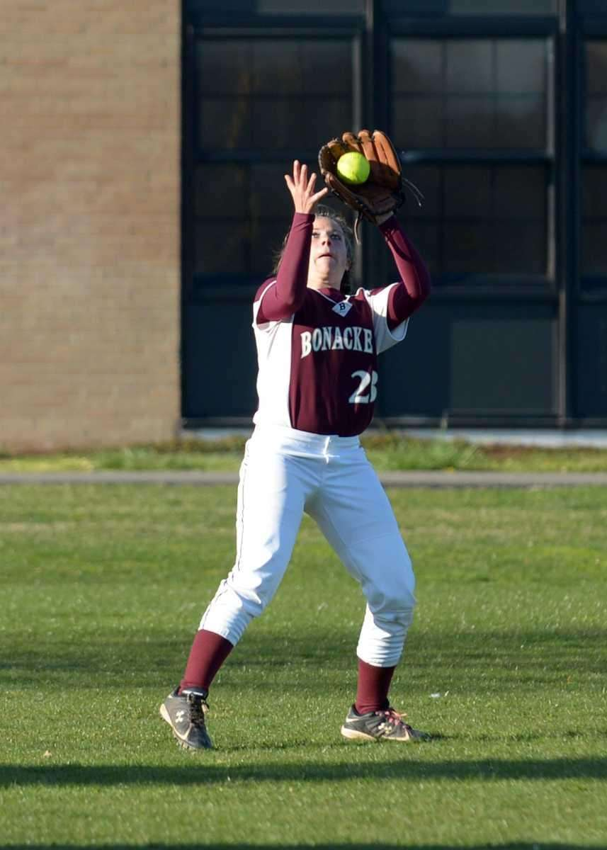East Hampton's Ellie Cassel makes the catch to