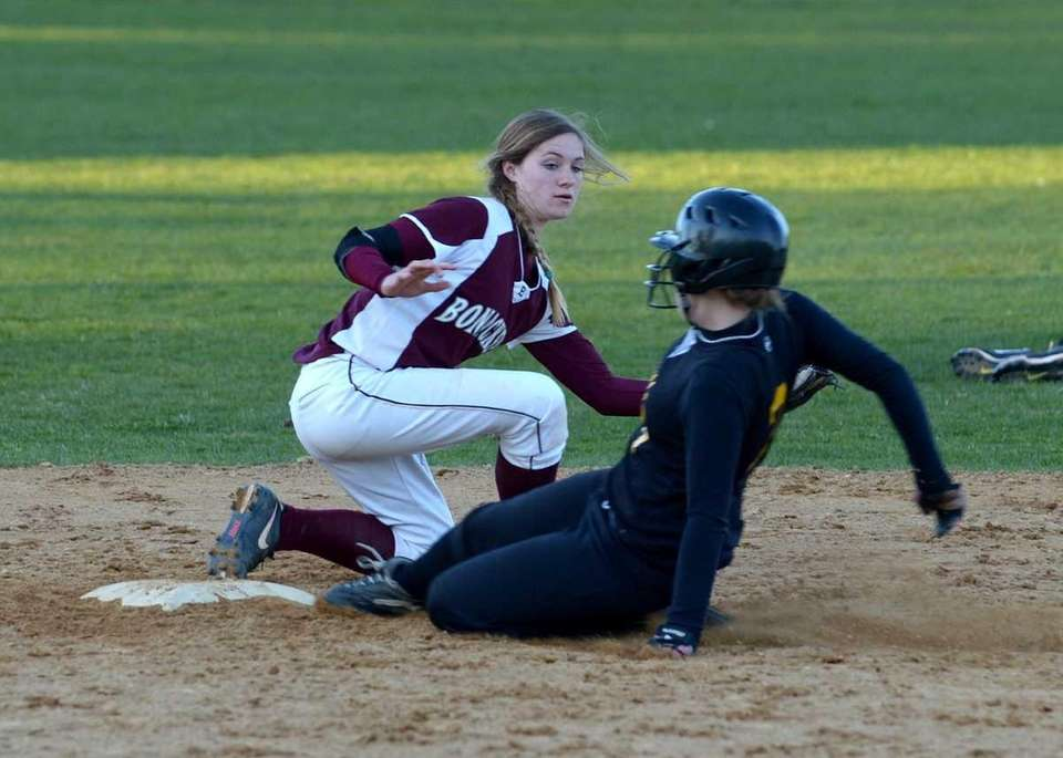 Sayville's Cindy Griffin beats the tag at second.