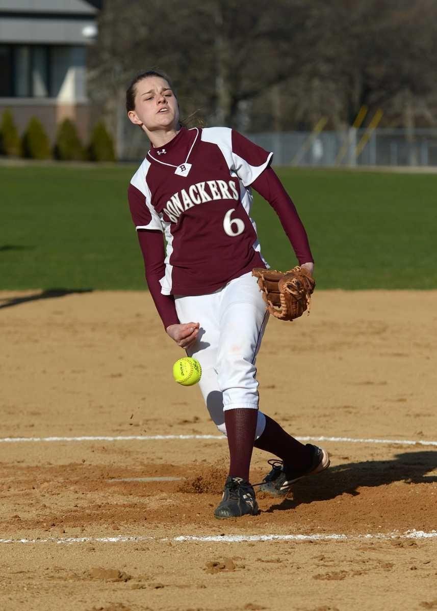 East Hamptons Casey Waleko releases a fast ball.