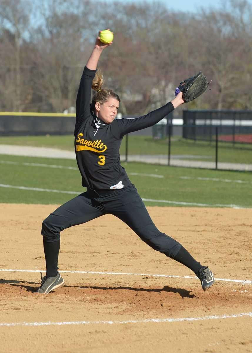 Sayville's Merissa Selts winds up for the pitch.