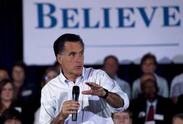 Republican presidential candidate Mitt Romney speaks to a