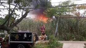 Firefighters battled a residential structure fire in Fire Island Pines