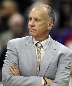 Philadelphia 76ers head coach Doug Collins looks out