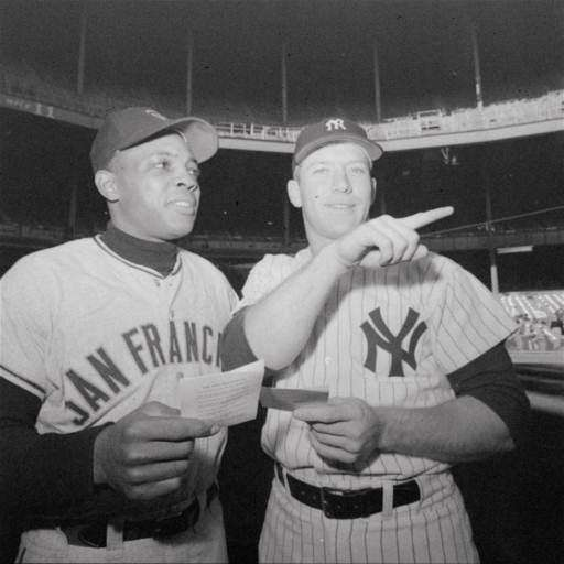 Willie Mays, left, of the San Francisco Giants,