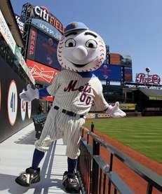 'Mr. Met' poses for a photograph in the