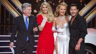 """DWTS"" co-host Tom Bergeron, left, interviews Christie Brinkley"