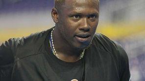 Miami Marlins' Hanley Ramirez looks on before a