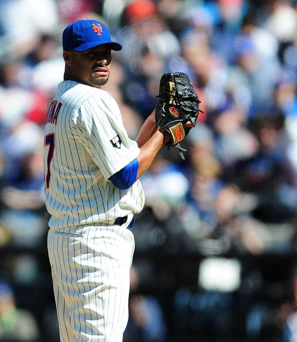 Johan Santana on the mound in the fifth
