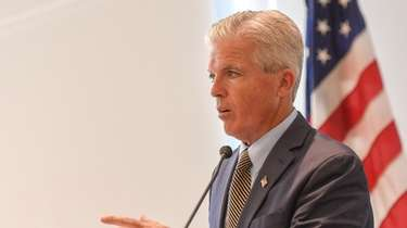 Suffolk County Executive Steve Bellone speaks at Stony
