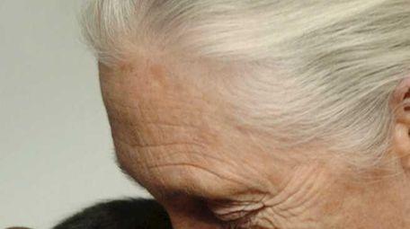 Jane Goodall, British ethologist, kisses Pola, a 14-months-old