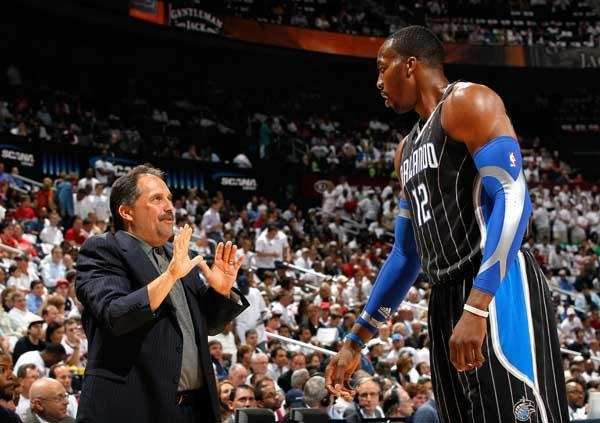 Magic coach Stan Van Gundy and Dwight Howard.