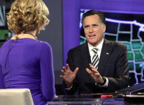 Republican presidential candidate Mitt Romney is interviewed by