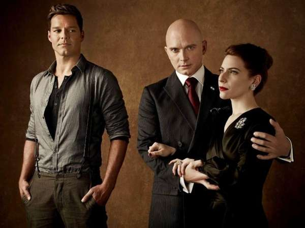 Ricky Martin, left, Michael Cerveris and Elena Roger