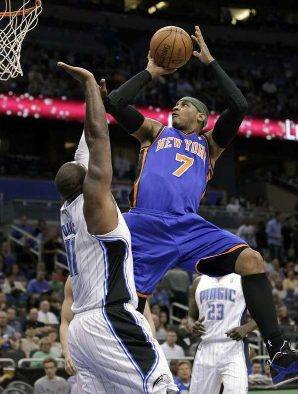 New York Knicks' Carmelo Anthony takes a shot