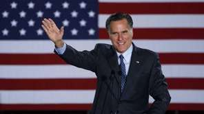 Republican Presidential candidate Mitt Romney declares victory in