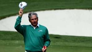 Fred Couples of the United States gestures after