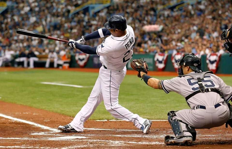 Carlos Pena of the Tampa Bay Rays hits