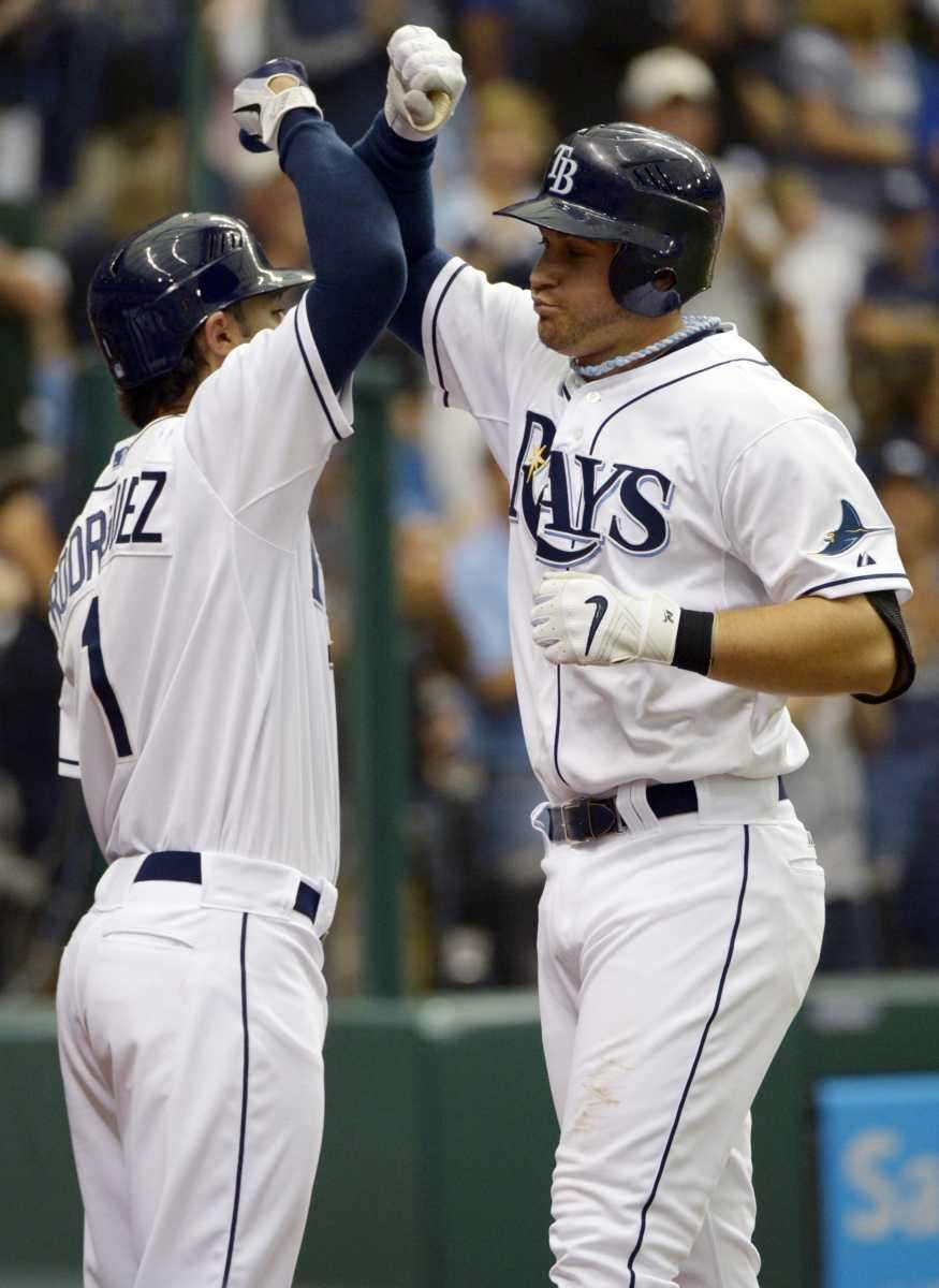 Tampa Bay Rays' Evan Longoria, right, is congratulated