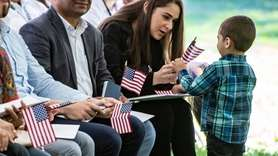 A naturalization ceremony was held for 63 people