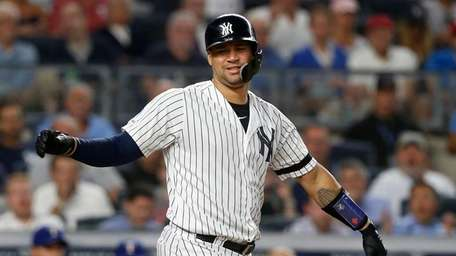 Gary Sanchez #24 of the Yankees reacts after