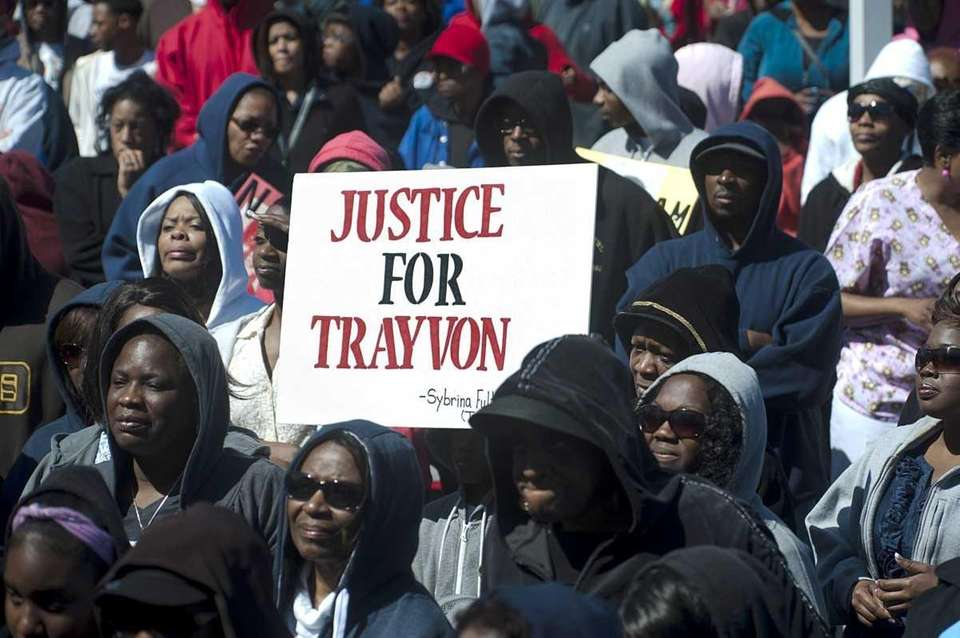 A large crowd gathered for the Trayvon Martin