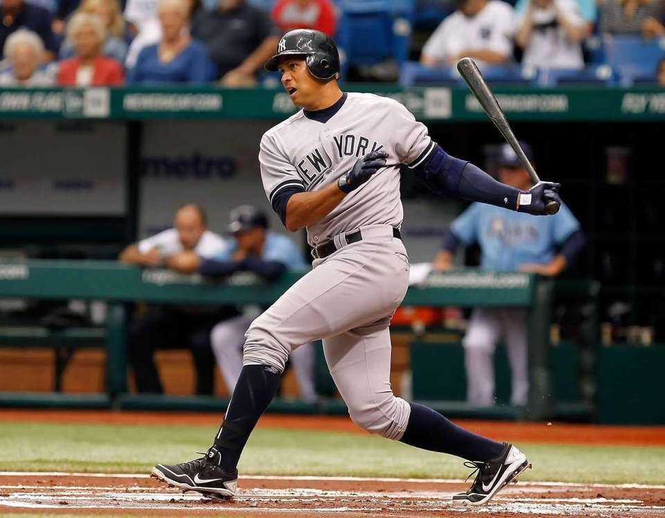 Alex Rodriguez of the New York Yankees fouls