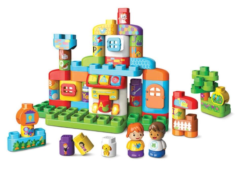 With this 61-piece block set, kids can build