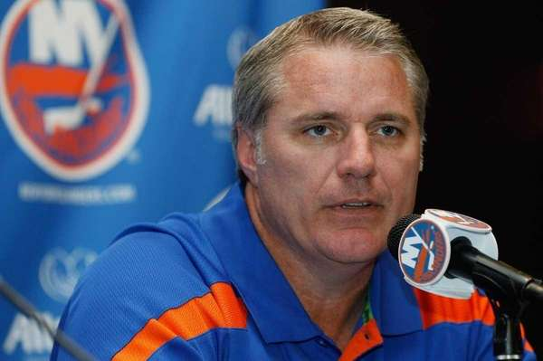 Islanders general manager Garth Snow addresses the media