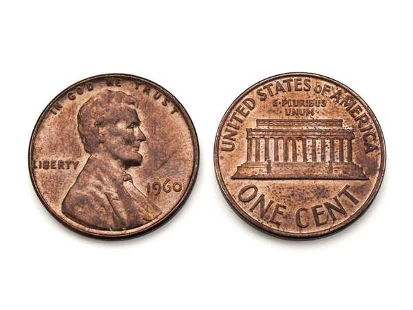 A copper U.S. penny, dated 1960