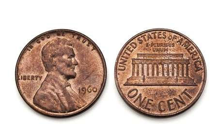 A copper U.S. penny, dated 1960
