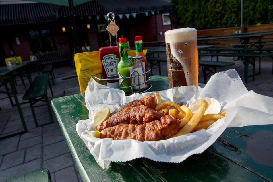 Octoberfest brew, and fish and chips at Croxley's,