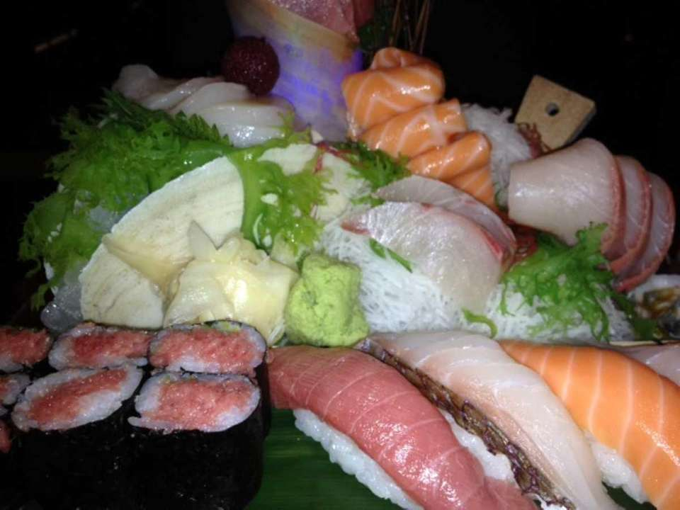 Sushi and sashimi platter at Ginza in Massapequa.