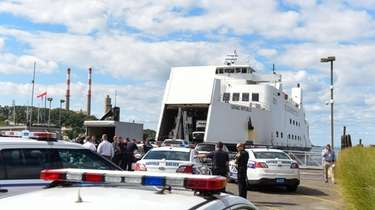 Suffolk County police converge at the Port Jefferson