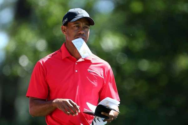 Tiger Woods of the United States on the