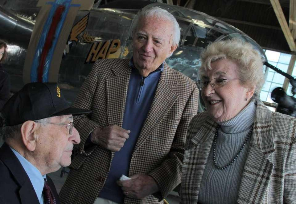 Holocaust survivors Jack and Thea Rumstein, right, talk