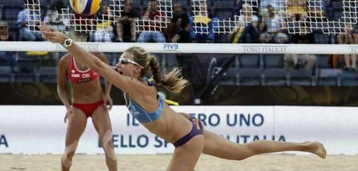 Kerri Walsh, of the U.S., returning the ball